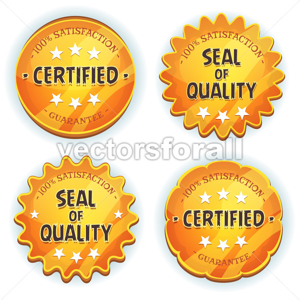Cartoon Gold Premium Quality Seals - Vectorsforall