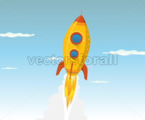 Cartoon Gold Space ship - Vectorsforall