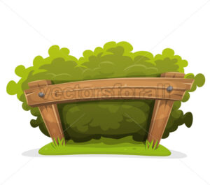 Cartoon Hedge With Wood Barrier - Vectorsforall