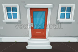 Cartoon House Door And Windows In The Street - Vectorsforall