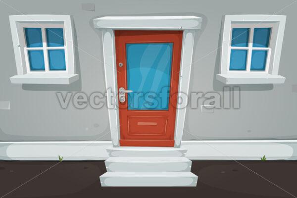 Cartoon House Door And Windows In The Street - Vectorsforall