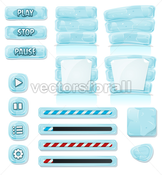 Cartoon Ice And Glass Icons For Ui Game - Vectorsforall