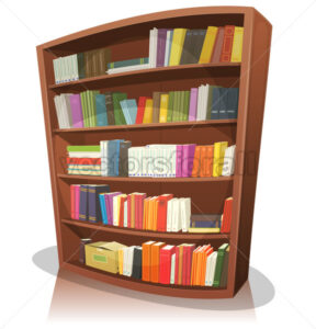 Cartoon Library Bookshelf - Vectorsforall