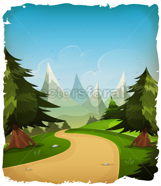 Cartoon Mountains Landscape Background - Vectorsforall