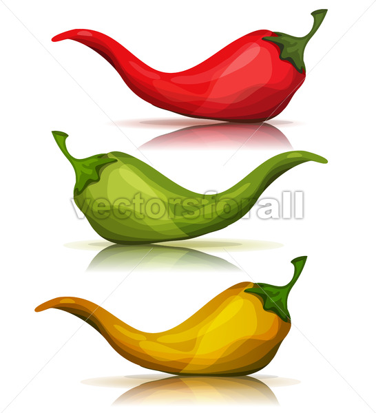 Cartoon Red, Green And Yellow Hot Chili Pepper - Vectorsforall