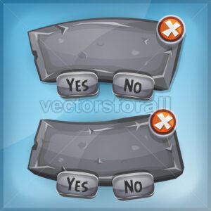 Cartoon Rock And Stone Agreement Panel For Ui Game - Vectorsforall