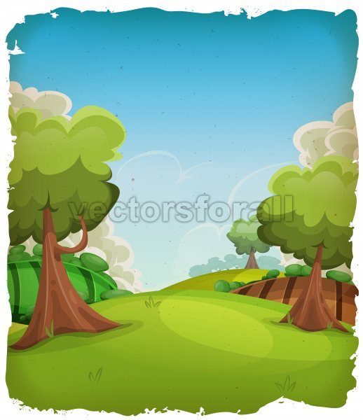Cartoon Rural Landscape Background - Vectorsforall