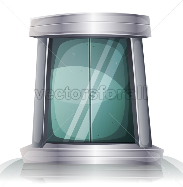 Cartoon Scifi Iron Elevator Door - Vectorsforall