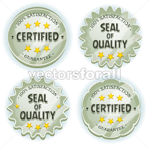 Cartoon Silver Premium Quality Seals - Vectorsforall