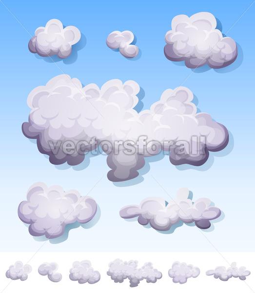 Cartoon Smoke, Fog And Clouds Set - Vectorsforall