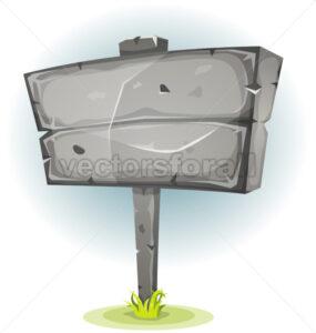 Cartoon Stone Advertising Sign - Vectorsforall