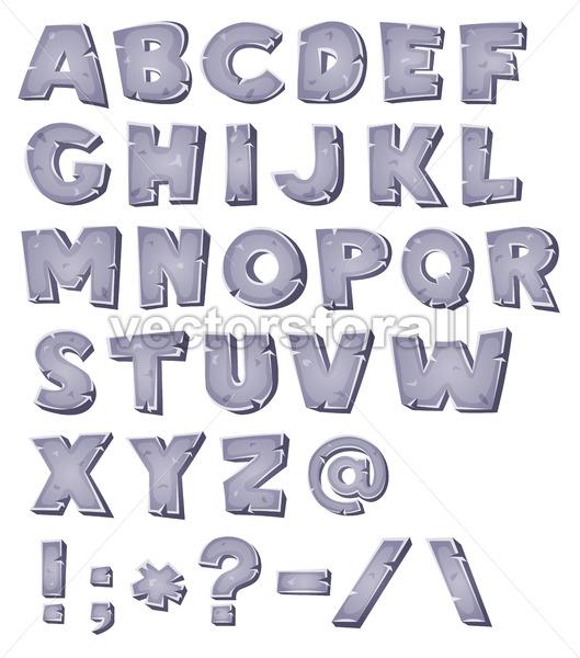 Cartoon Stone Alphabet - Vectorsforall