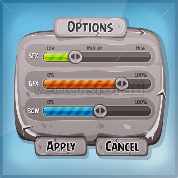 Cartoon Stone Control Panel For Ui Game - Vectorsforall