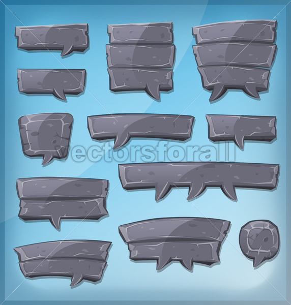 Cartoon Stone Speech Bubbles For Ui Game - Vectorsforall