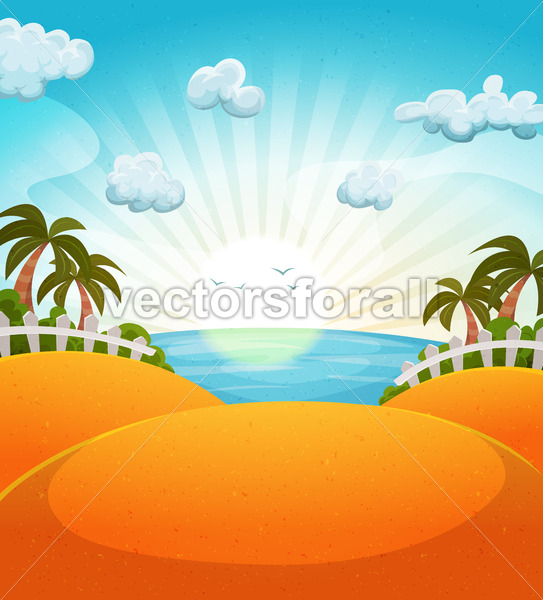 Cartoon Summer Beach Landscape - Vectorsforall