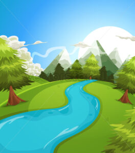 Cartoon Summer Mountains Landscape - Vectorsforall