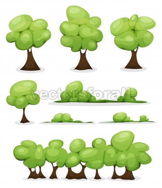 Cartoon Trees, Hedges And Bush Leaves Set - Vectorsforall