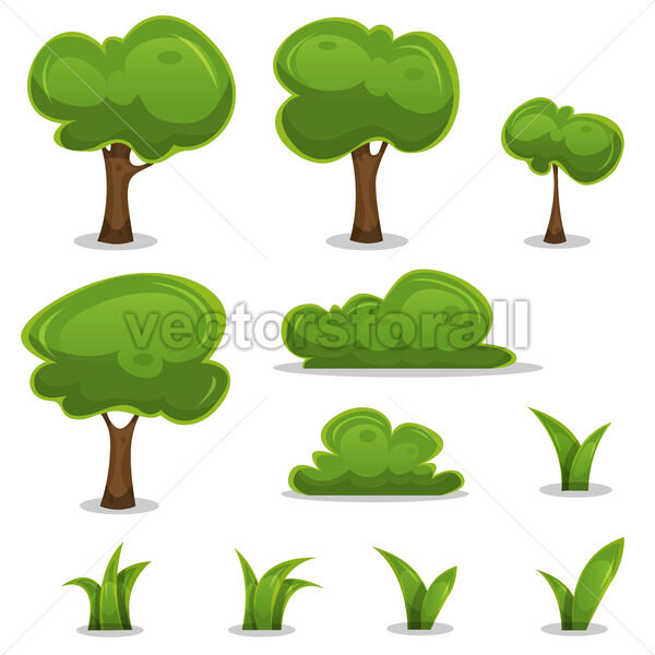 Cartoon Trees, Hedges And Grass Leaves Set - Vectorsforall