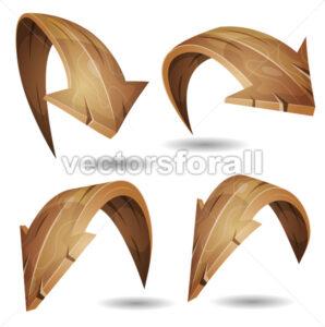 Cartoon Wood Arrows Signs Set - Vectorsforall