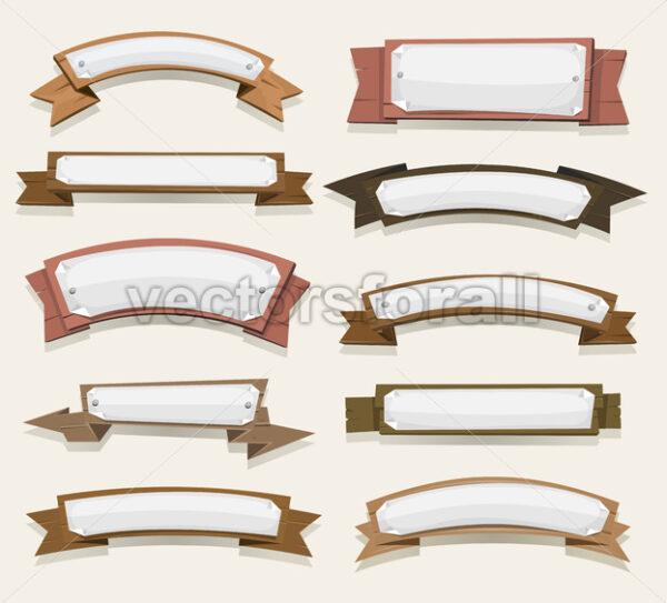 Cartoon Wood Banners And Ribbons - Vectorsforall