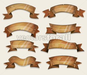 Cartoon Wood Banners And Ribbons For Ui Game - Vectorsforall