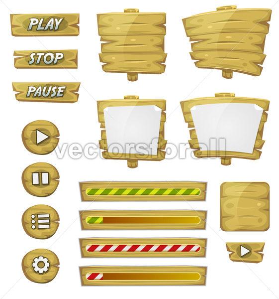 Cartoon Wood Elements For Ui Game - Vectorsforall