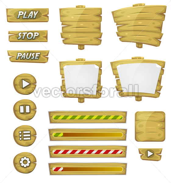 Cartoon Wood Elements For Ui Game - Vectorsforall