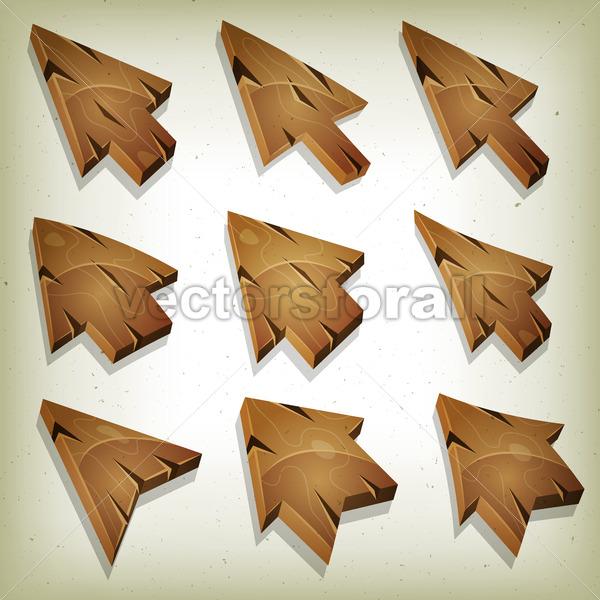 Cartoon Wood Icons, Cursor And Arrows - Vectorsforall