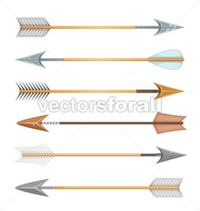 Cartoon Wood, Metal And Stone Arrows For Bow - Vectorsforall