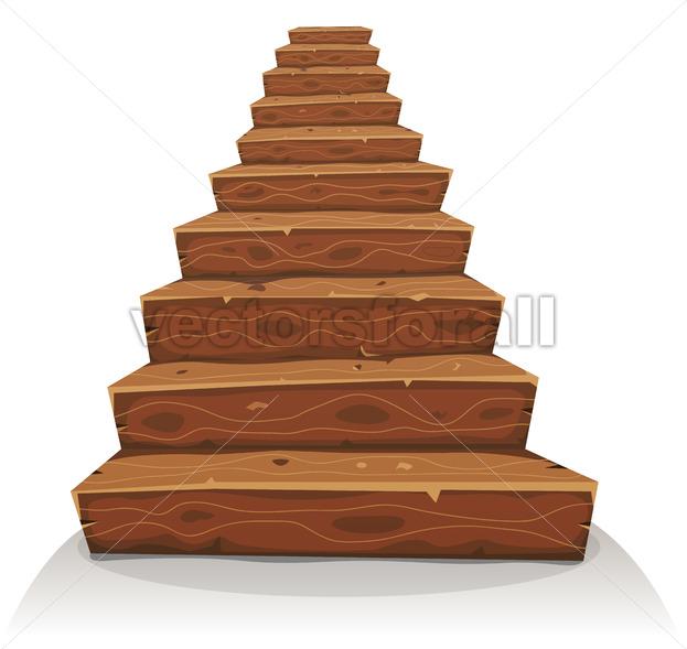 Cartoon Wood Stairs - Vectorsforall