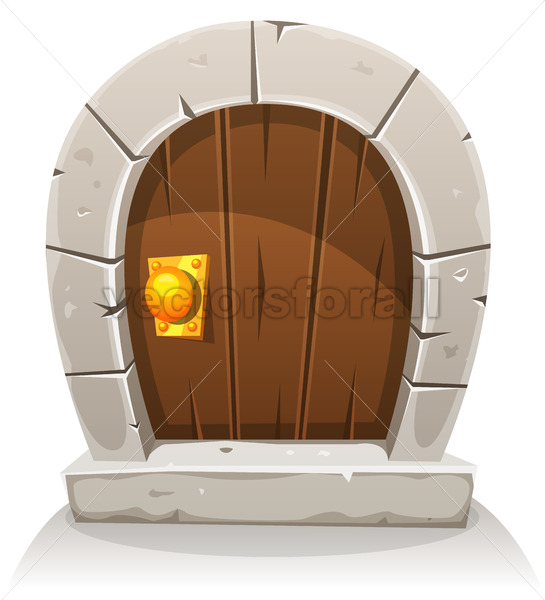Cartoon Wooden And Stone Hobbit Door - Vectorsforall