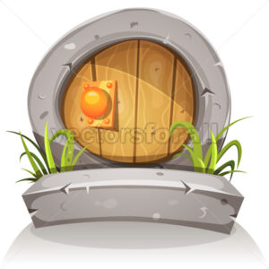 Cartoon Wooden And Stone Hobbit Door For Ui Game - Vectorsforall
