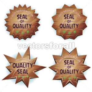 Cartoon Wooden Seal Of Quality - Vectorsforall