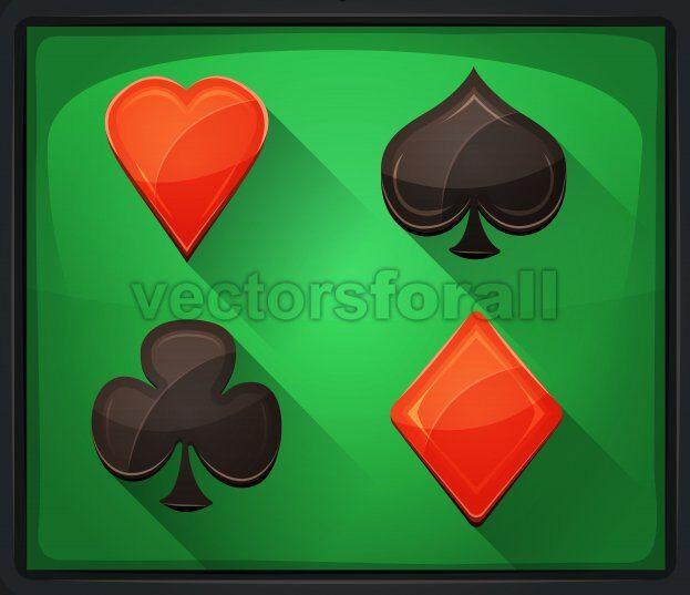 Casino Poker Icons On Green Carpet - Vectorsforall