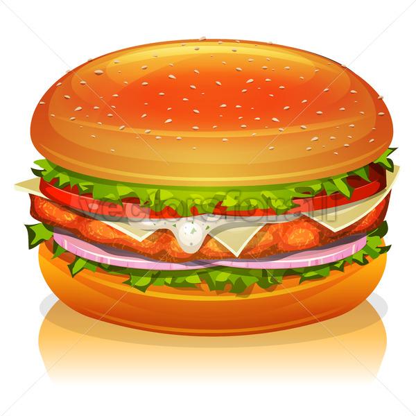 Chicken Burger Icon - Vectorsforall
