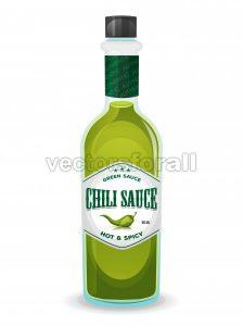 Chili Pepper Green Sauce In Bottle - Vectorsforall
