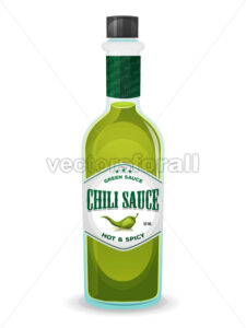 Chili Pepper Green Sauce In Bottle - Vectorsforall