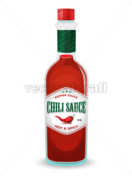 Chili Pepper Sauce In Bottle - Vectorsforall