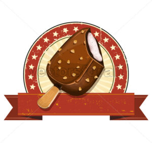 Chocolate Ice Cream On Grunge Banner - Vectorsforall