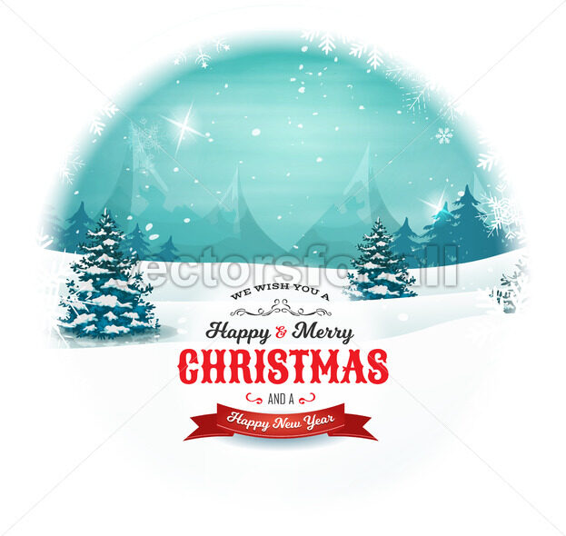 Christmas And New Year Landscape In Snowball - Vectorsforall