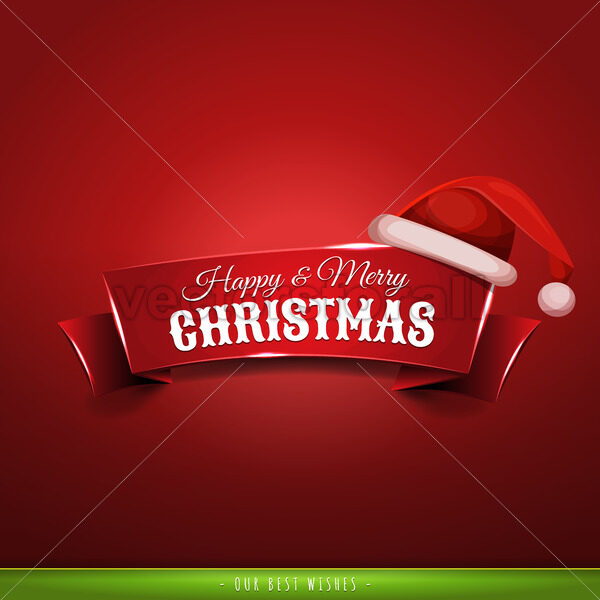 Christmas Banner With Santa Hat - Vectorsforall
