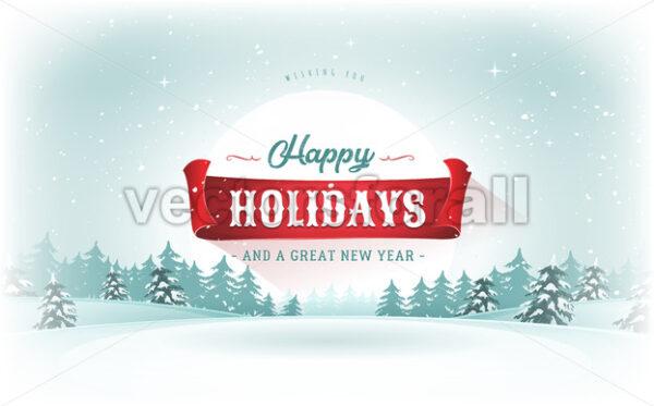 Christmas Landscape Postcard - Vectorsforall