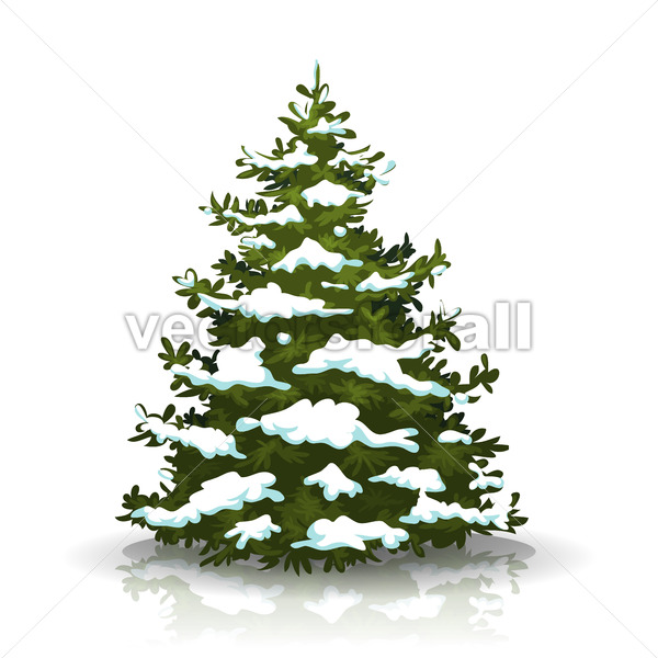 Christmas Pine Tree With Snow - Vectorsforall
