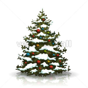 Christmas Pine Tree With Snow And Balls - Vectorsforall