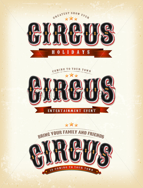 Circus Banners On Vintage background - Vectorsforall