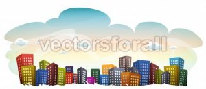 Cityscape With Buildings On Sky Background - Vectorsforall