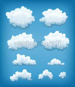 Clouds Set On Blue Sky Background - Vectorsforall