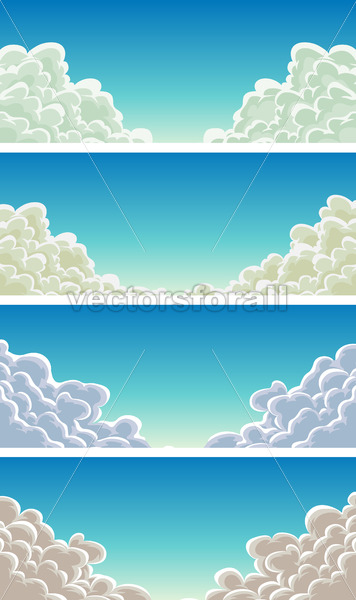 Cloudscape Set On Blue Sky Background - Vectorsforall