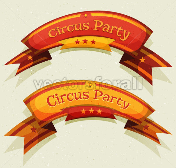 Comic Circus Party Banners And Ribbons - Vectorsforall