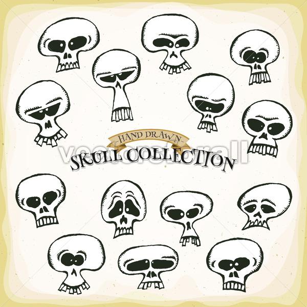 Comic Hand Drawn Skull Head Set - Vectorsforall